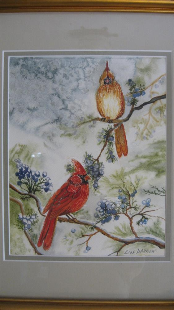 """Pair of Cardinals"" original fine art by Lisa Darrow"