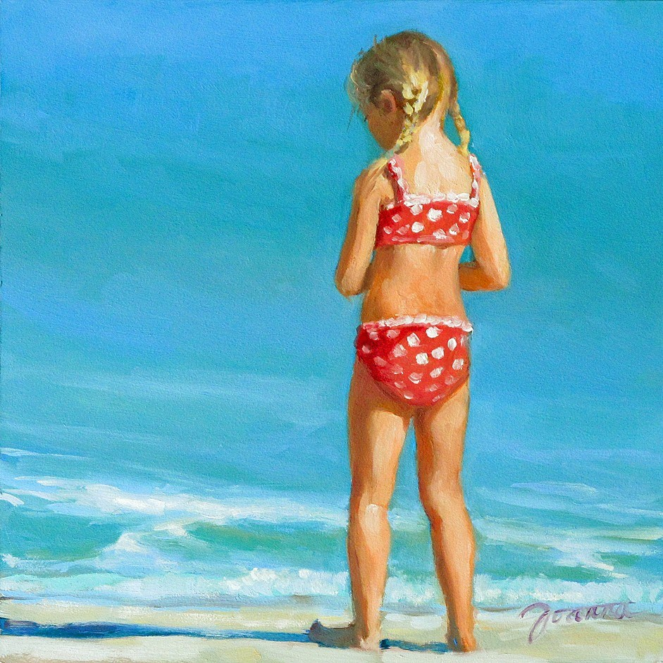 """Happy Toe---Series Painting of Children On the Beach"" original fine art by Joanna Bingham"