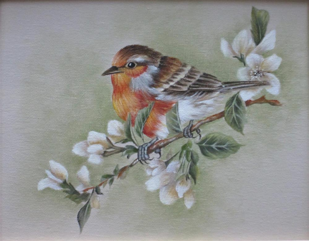 """European Robin"" original fine art by Barbara Wagner"