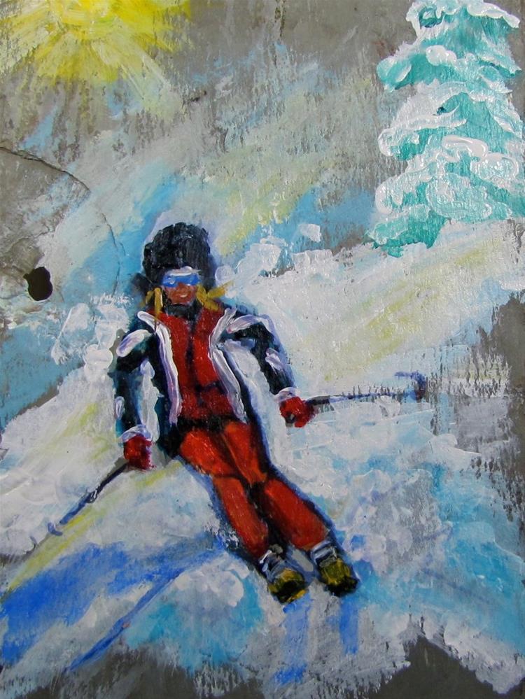 """Day 23 slate - Skier I"" original fine art by Christine Holzschuh"
