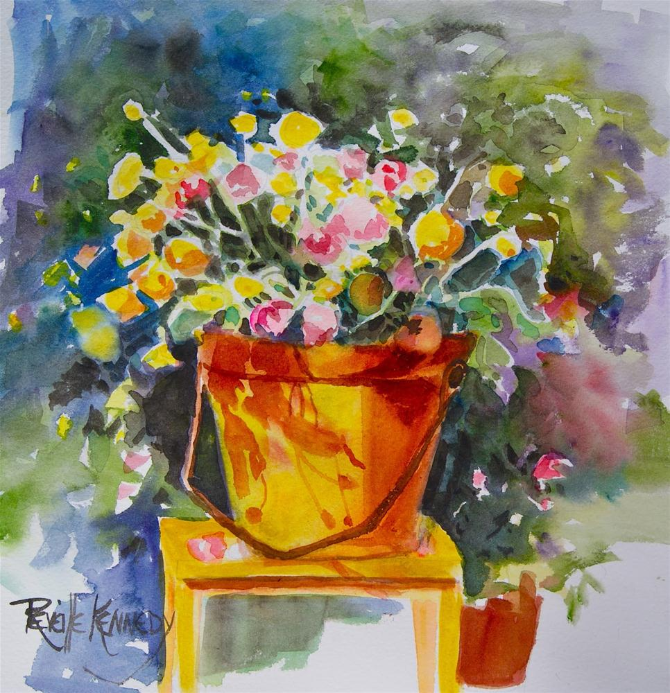 """A Bucketfull of Posies  matted, framed"" original fine art by Reveille Kennedy"