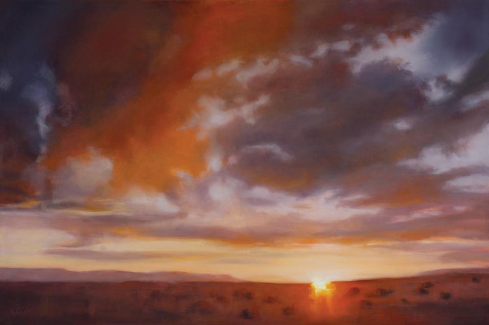 """""""Prairie Sunset"""" original fine art by Pamela Poll"""