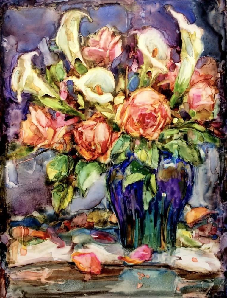"""Precious Flower Gift"" original fine art by Julie Ford Oliver"