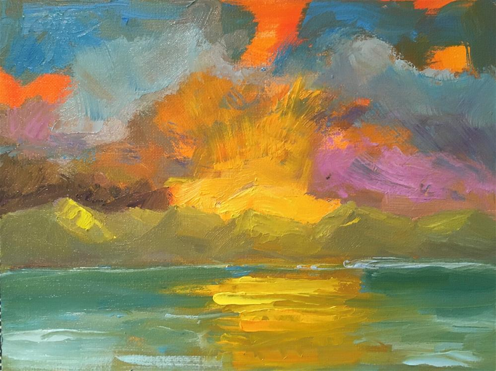 """Hawaiian Sunrise Over the Mountains"" original fine art by Marcia Bergtholdt"