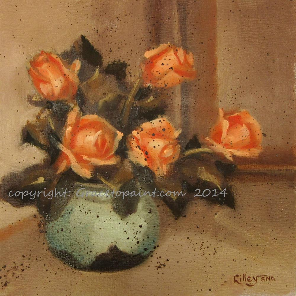 """Orange Roses in Aqua Vase"" original fine art by Maresa Lilley"