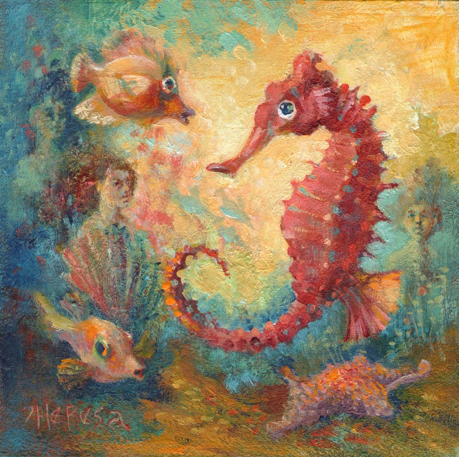 """Seahorse and Company"" original fine art by Theresa Taylor Bayer"