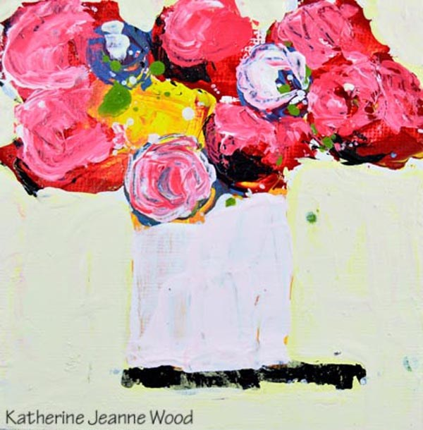 """Pink and yellow cottage chic floral no 158"" original fine art by Katie Jeanne Wood"