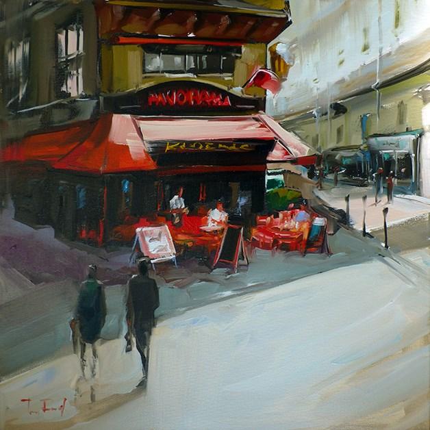 """Café in Paris"" original fine art by Jurij Frey"