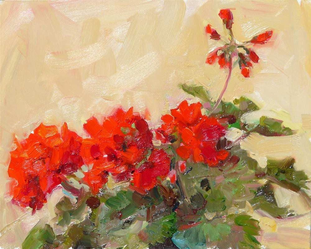 """Deck Geraniums,still life,oil on panel,8x10,price$275"" original fine art by Joy Olney"