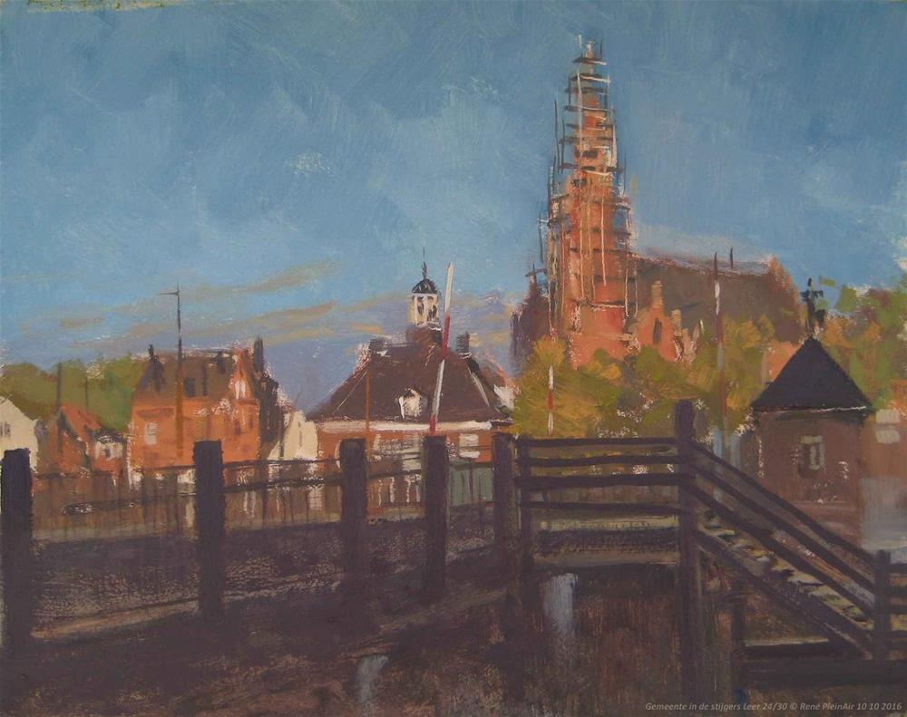 """City hall in scaffolding. Leer Germany."" original fine art by René PleinAir"