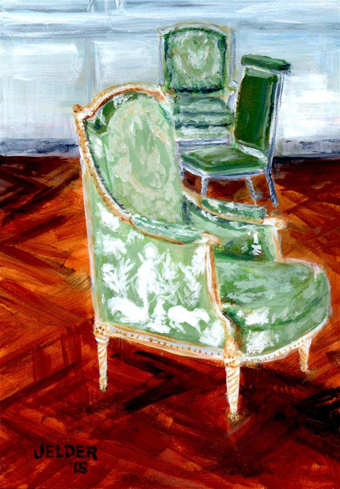 """Three Chairs, Versailles"" original fine art by Judith Elder"