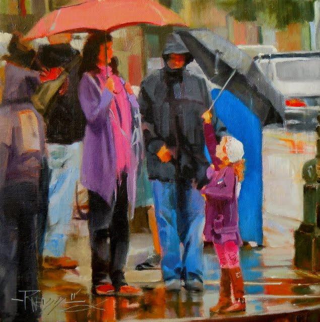 """""""Family Trio Seattle City scenes, figurative oil painting"""" original fine art by Robin Weiss"""