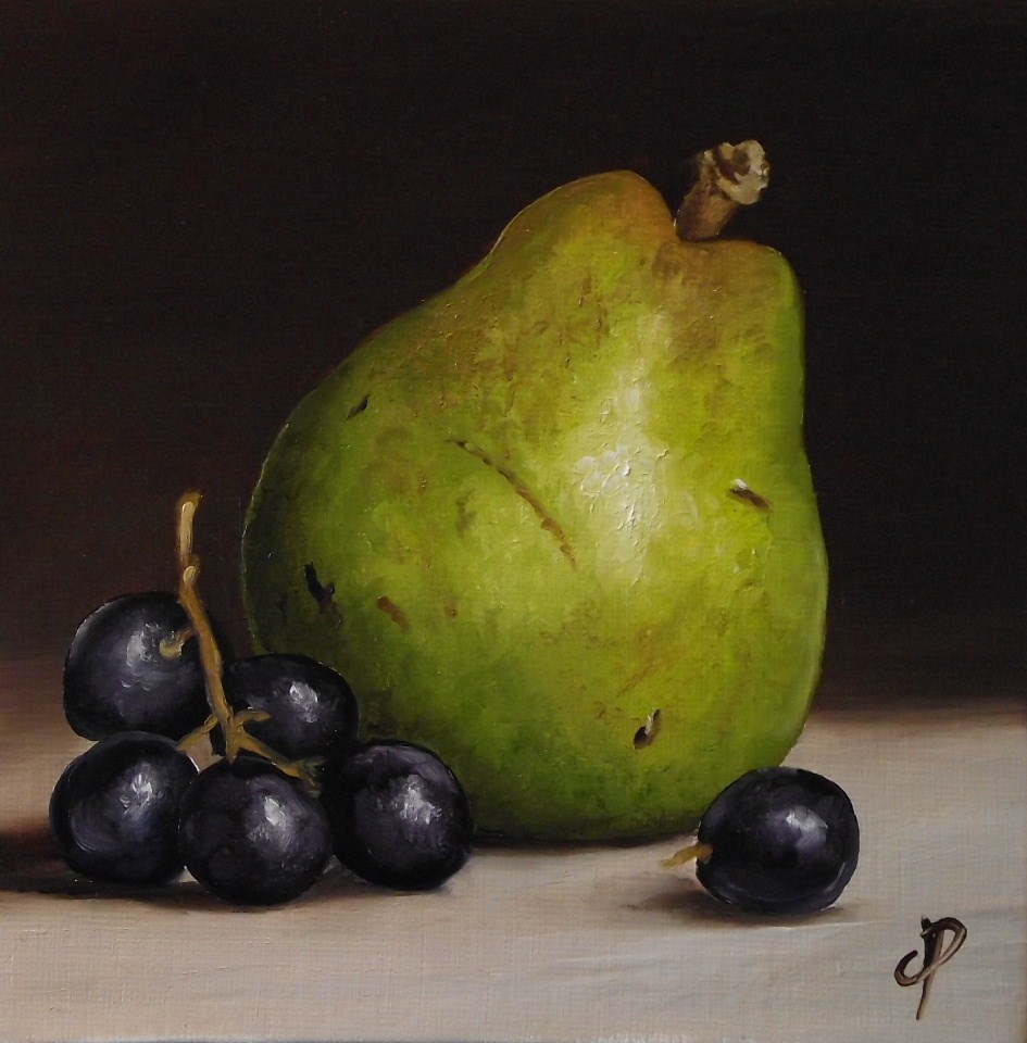 """Comice pear with grapes"" original fine art by Jane Palmer"