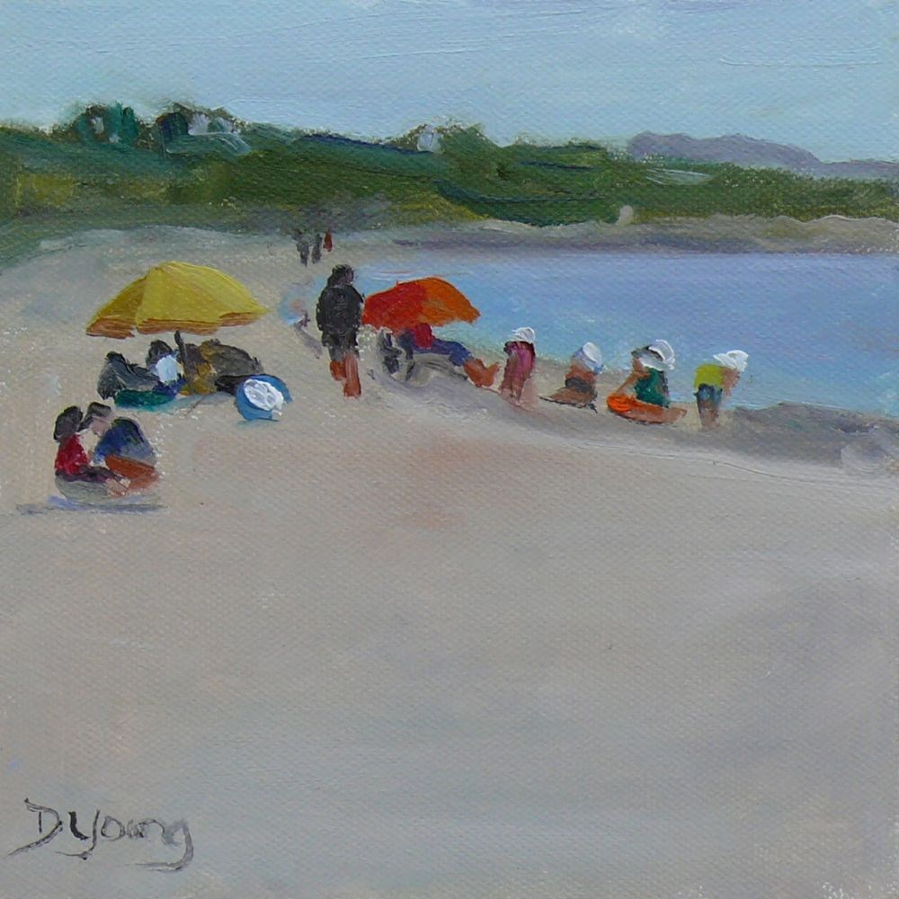 """Beach Day, oil on canvas panel, 6x6"" original fine art by Darlene Young"