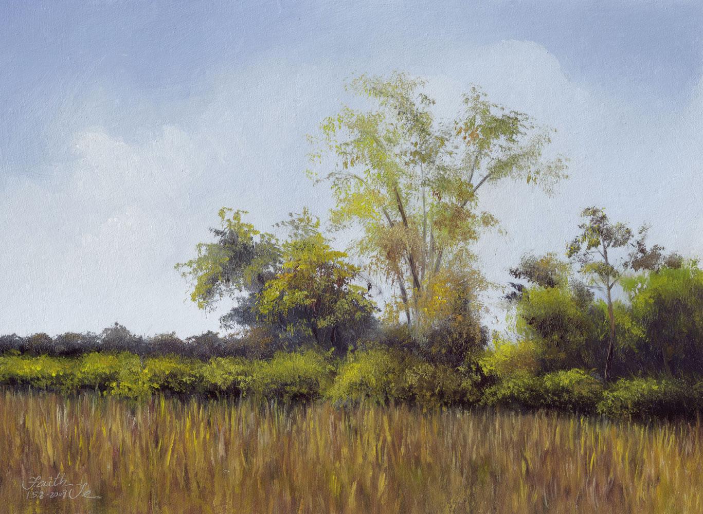 """Bushes on Our Farm"" original fine art by Faith Te"