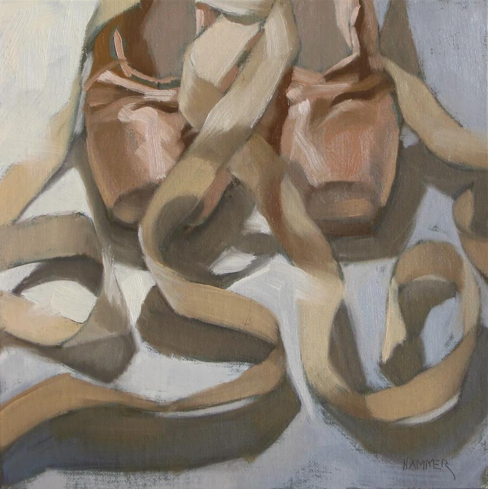 """Ballet ribbons 8x8 oil"" original fine art by Claudia Hammer"