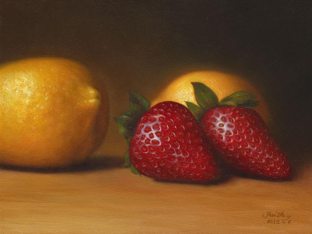 """Lemons and Strawberries"" original fine art by Faith Te"