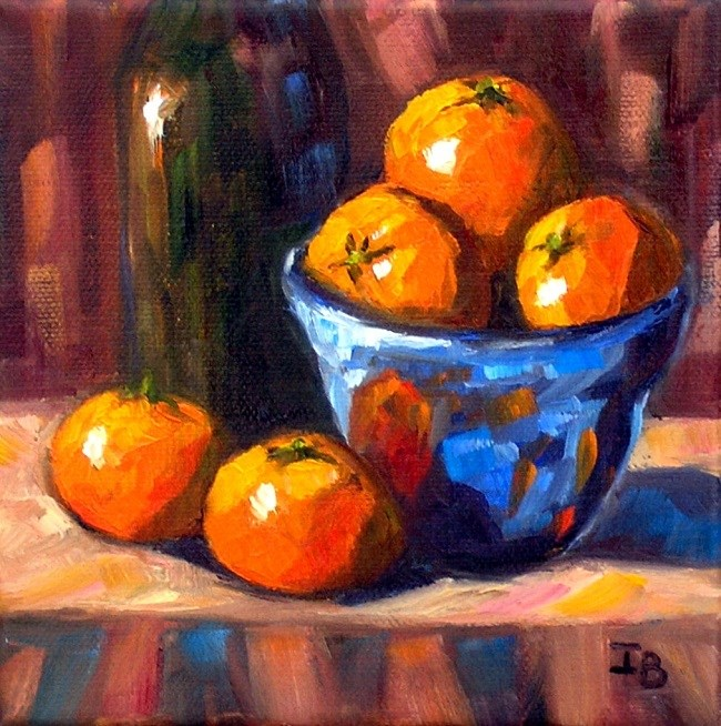 """Tangerines in the blue bowl"" original fine art by Irina Beskina"