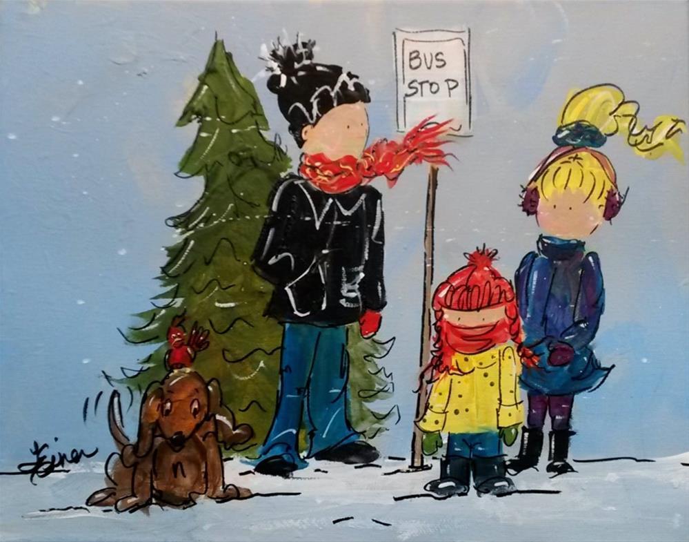 """""""Bus Stop-Day 21, 30 in 30"""" original fine art by Terri Einer"""