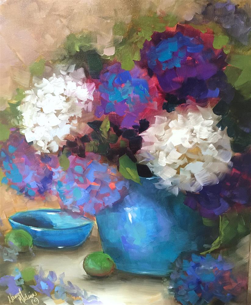 """Saturday Blue Hydrangeas and an Orlando Workshop - Nancy Medina Art"" original fine art by Nancy Medina"