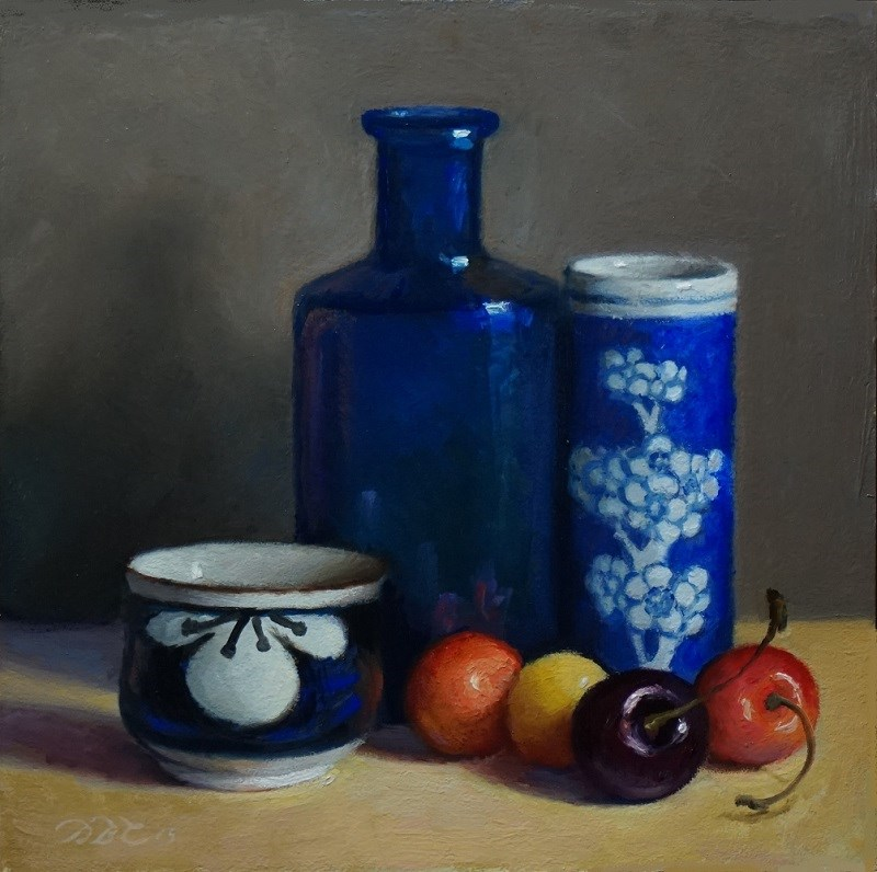 """Blue Vessels and Cherries"" original fine art by Debra Becks Cooper"