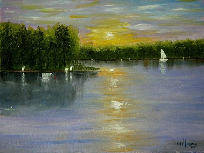 """Sunset over Woodlake, Va"" original fine art by Sunny Williams"