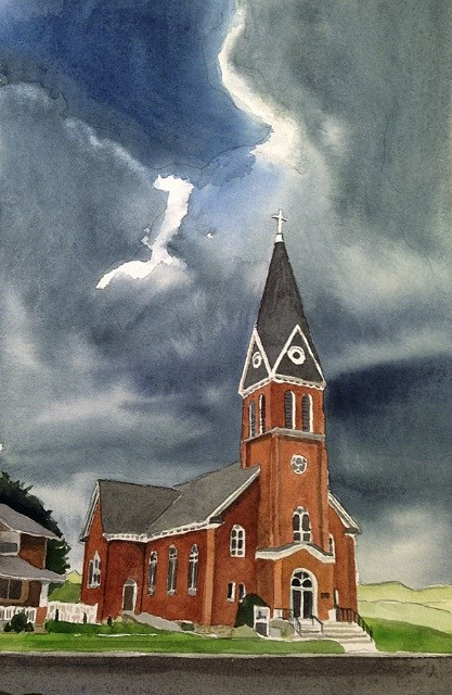 """Church in Colton"" original fine art by Andy Sewell"