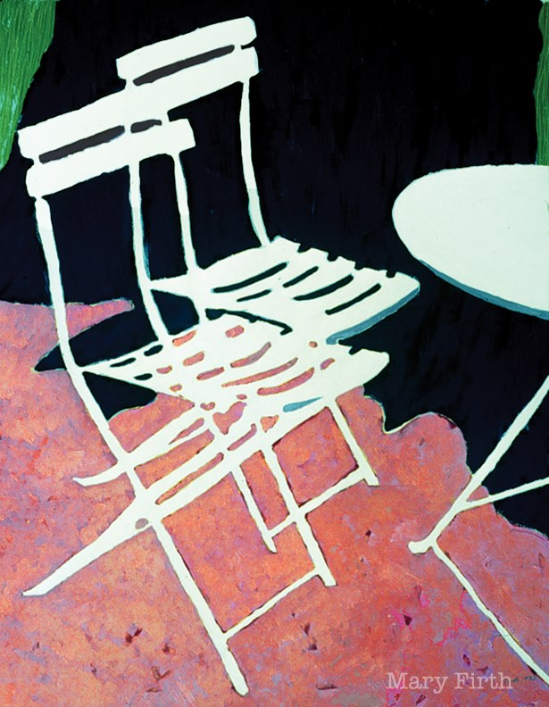 """white chairs"" original fine art by Mary Firth"
