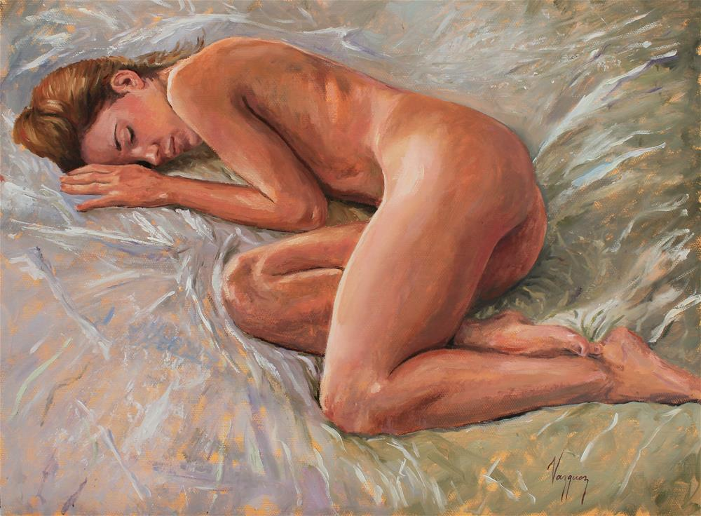 """Sleeping nude"" original fine art by Marco Vazquez"