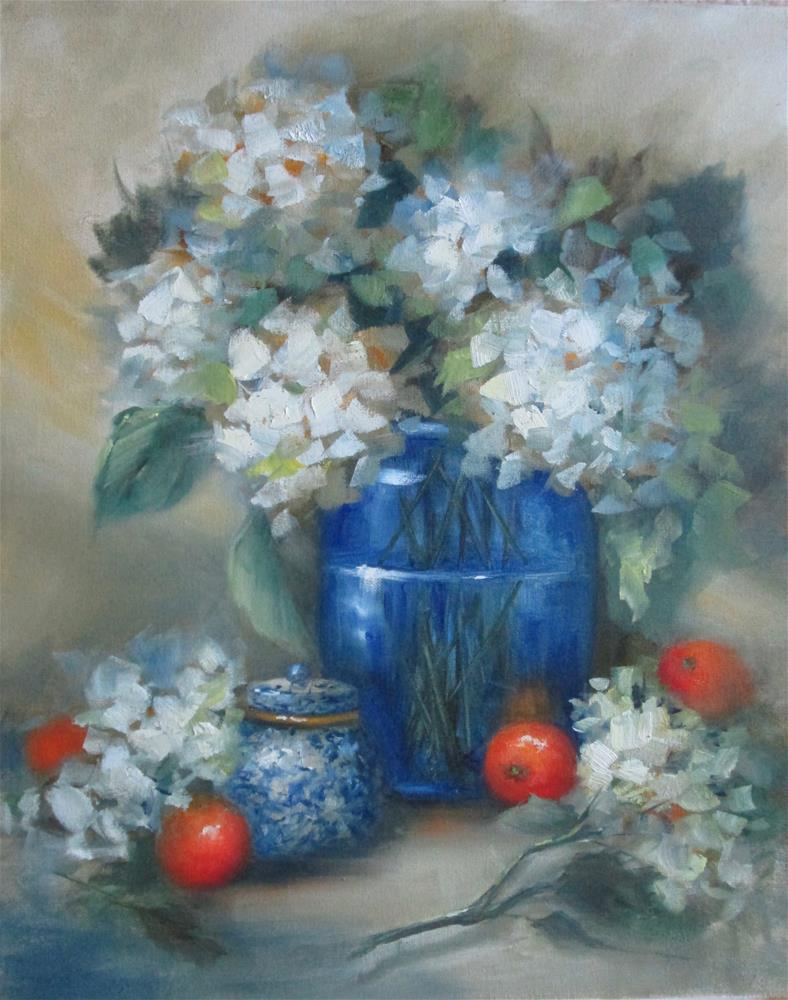 """White Hydrangea and Oranges"" original fine art by Barbara Wagner"