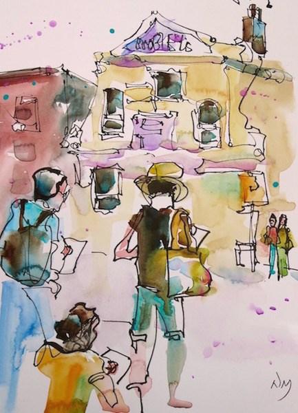 """sketchers enjoying the moment"" original fine art by Nora MacPhail"