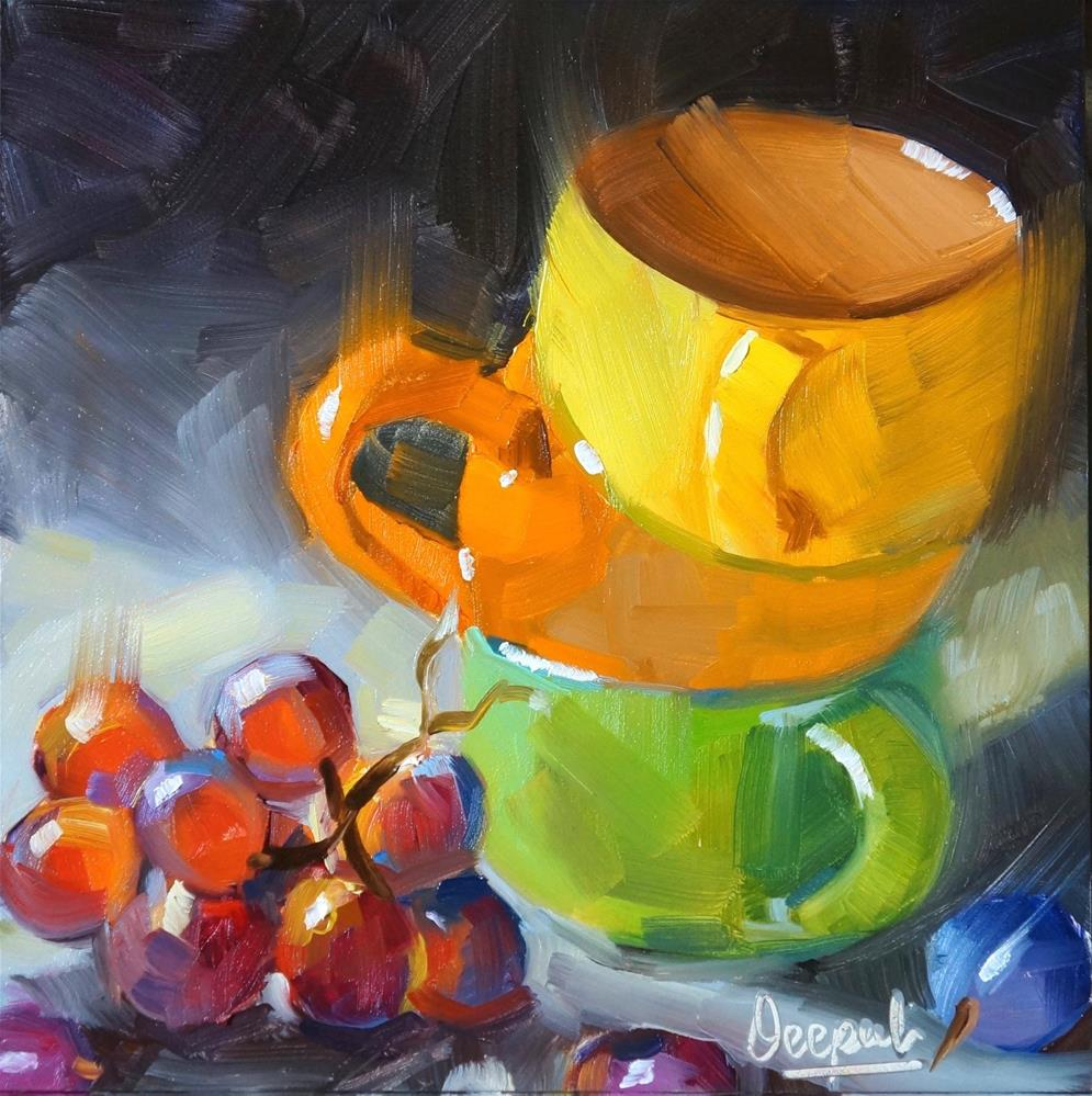 """Stacked cups"" original fine art by Dipali Rabadiya"
