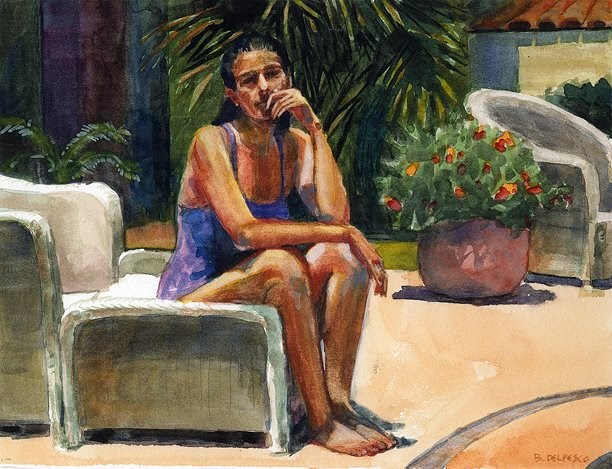 """Watercolor painting: Girl by the Pool"" original fine art by Belinda Del Pesco"
