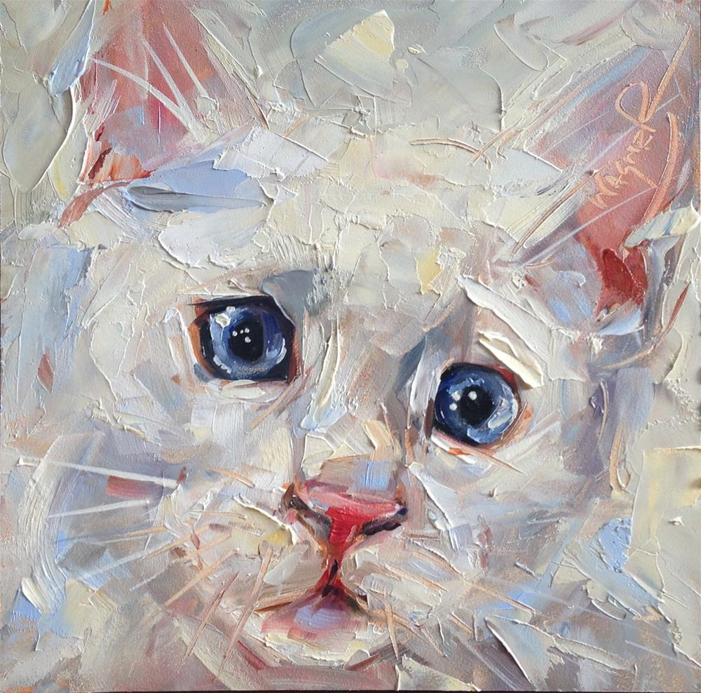 """ORIGINAL CONTEMPORARY WHITE CAT PAINTING in OILS by OLGA WAGNER - 12 DAYS OF GREY"" original fine art by Olga Wagner"