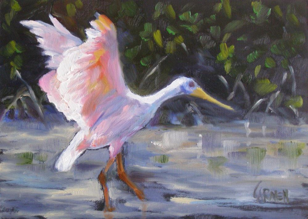 """Spoonbill Stretch, 5x7 Oil on Canvas"" original fine art by Carmen Beecher"