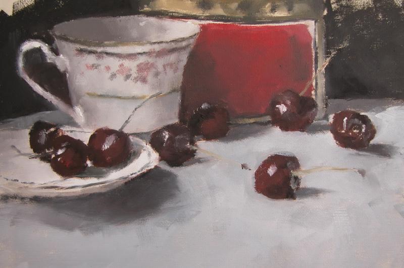 """Still Life with Cherries"" original fine art by Richard Jones"