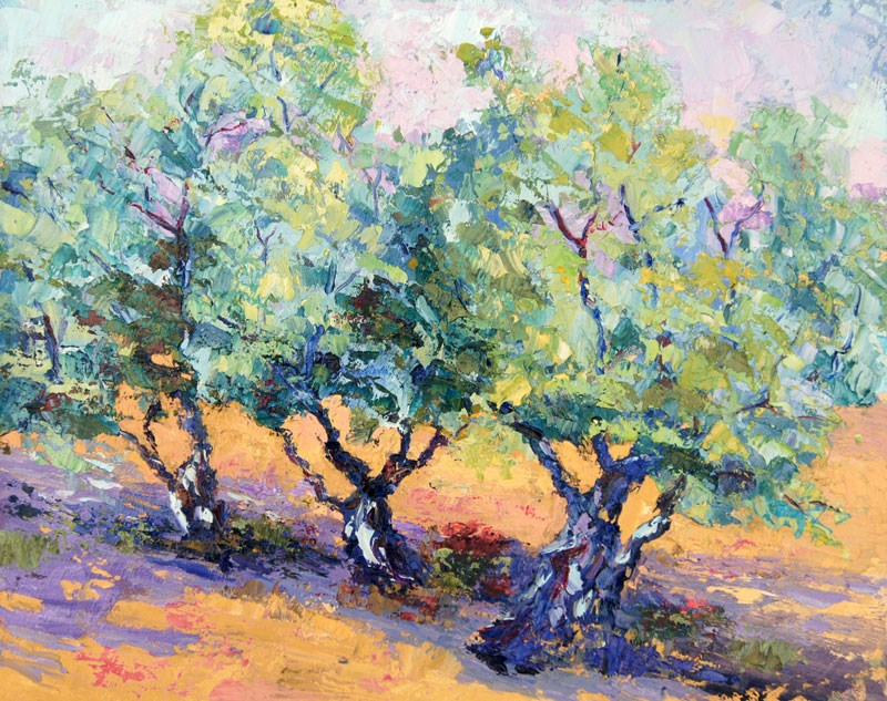 """Olive Tree Trio"" original fine art by Marion Hedger"