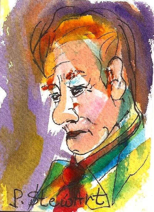 """ACEO: Man with a Red Tie, Watercolor and Pen, Loose Style , Portrait"" original fine art by Penny Lee StewArt"