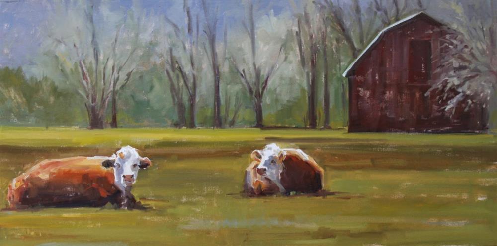 """Balsam Mt herefords"" original fine art by Carol Carmichael"