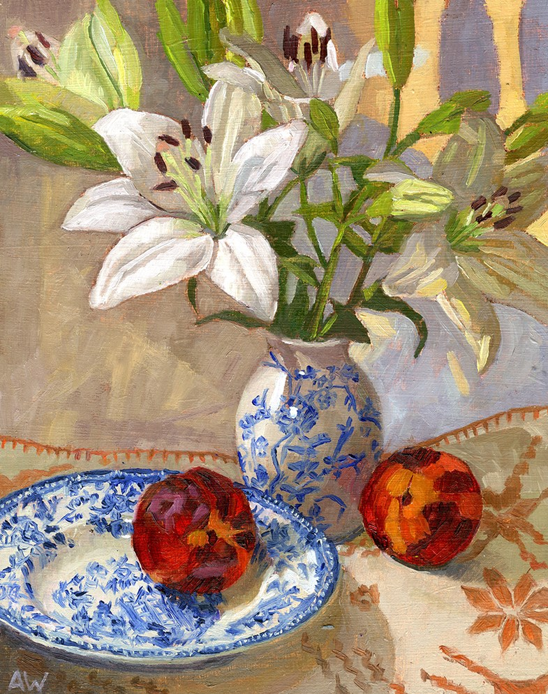 """Lilys and Nectarines"" original fine art by Angie Wood"