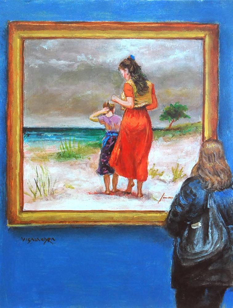 """museum visitor 12"" original fine art by vishalandra dakur"