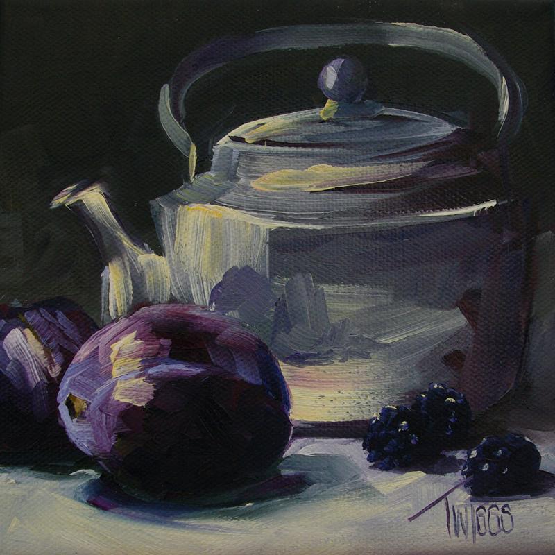 """Plums and Blackberries"" original fine art by Lori Twiggs"