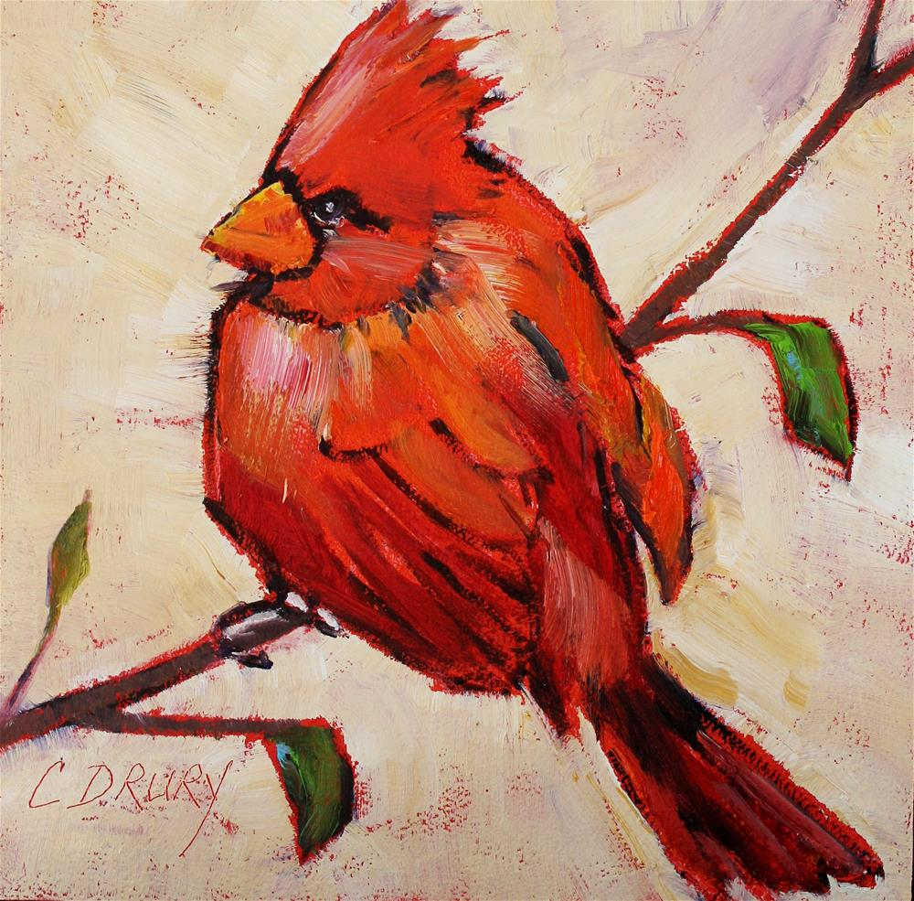 """Cardinal"" original fine art by Colleen Drury"