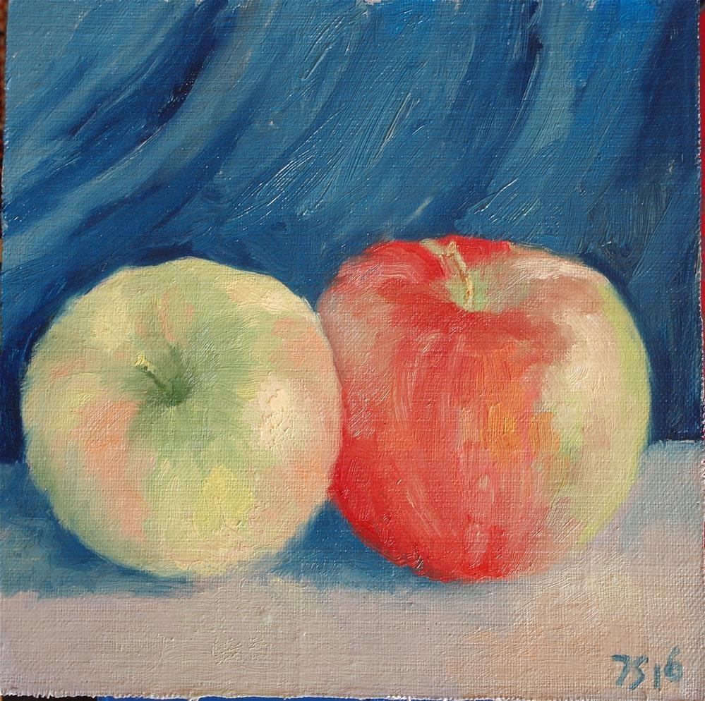 """2 apples"" original fine art by Yuriy Semyonov"