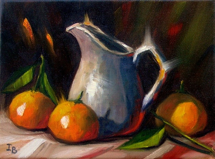 """Three tangerines - 2"" original fine art by Irina Beskina"