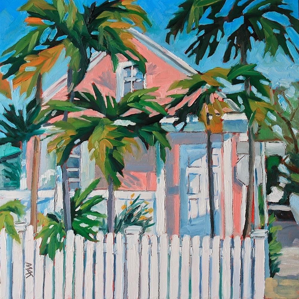 """Key West Pink House"" original fine art by Mary Anne Cary"