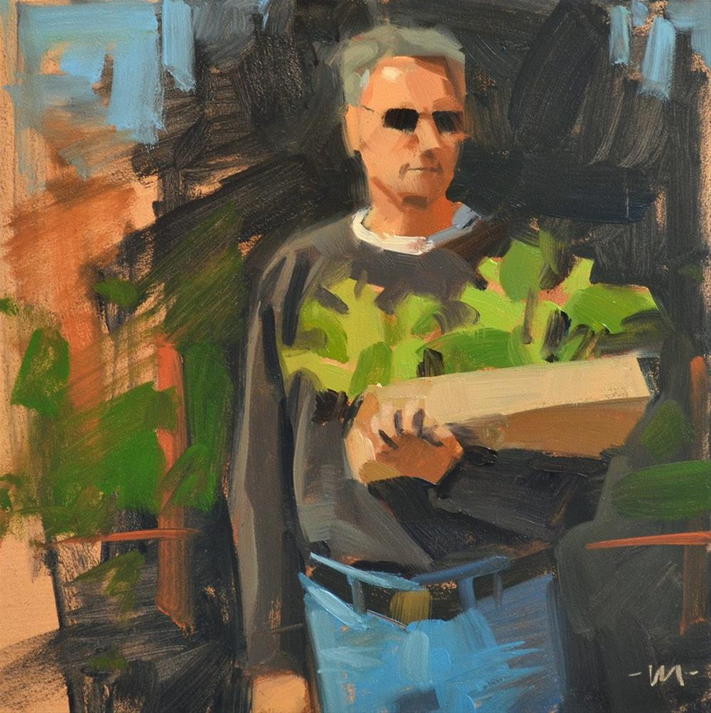 """Man With Plants"" original fine art by Carol Marine"