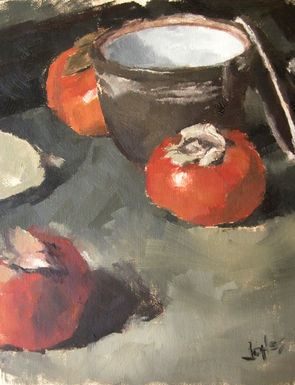 """Persimmons"" original fine art by Richard Jones"