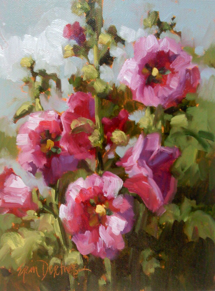 """Dance of the Hollyhocks"" original fine art by Erin Dertner"