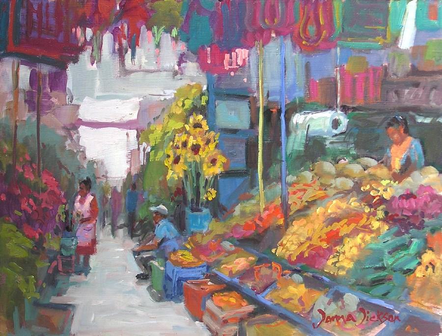 """""""EN EL MERCADO"""" original fine art by Donna Dickson"""